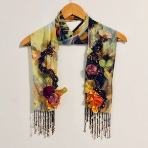 Mary Frances Multicolored Floral Jewel Bug Scarf